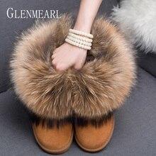 النساء الأحذية جلد طبيعي ريال فوكس الفراء العلامة التجارية أحذية الشتاء الدافئة الأسود جولة تو الكاحل حجم كبير الإناث الثلوج الأحذية دي