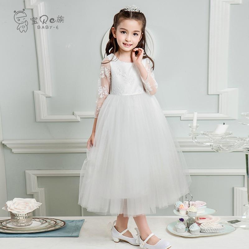 Childrenswear Girls Dress Long Sleeve Princess Dress Spring And Summer Korean-style Children Dresses Of Bride Fellow Kids Puffy