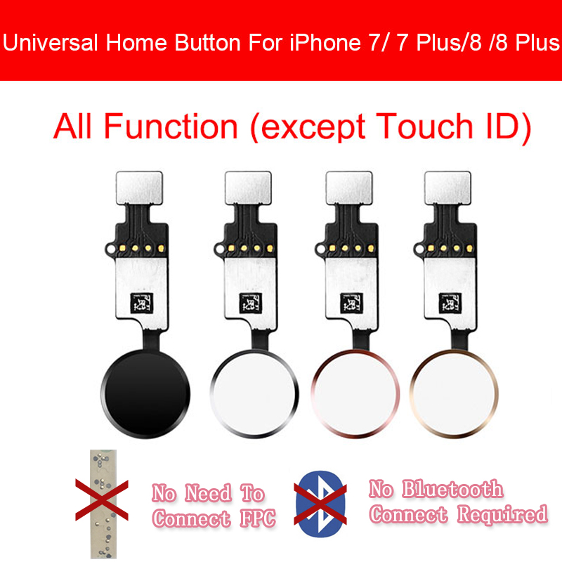 Universal Home Button For IPhone 7 7 Plus 8 8 Plus Button Flex Cable Restore Menu Keypad Return Function No Touch ID Replacement