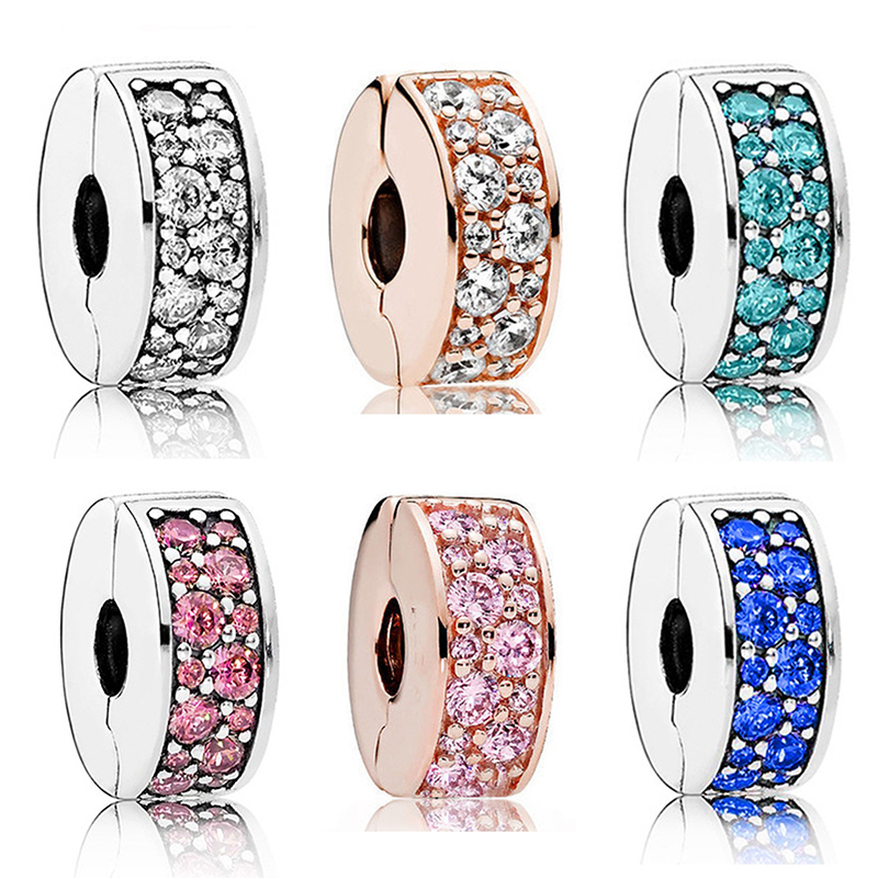 Fit Original Pan Bracelet Women Colorful Crystal Spacer Clip Charms for Bracelets Men Jewelry Making DIY Clips Beads Accessories