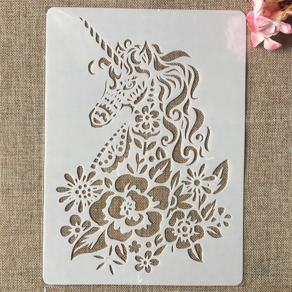 A4 29x21cm Hand Draw Flower Unicorn DIY Layering Stencils Painting Scrapbook Coloring Embossing Album Decorative Template