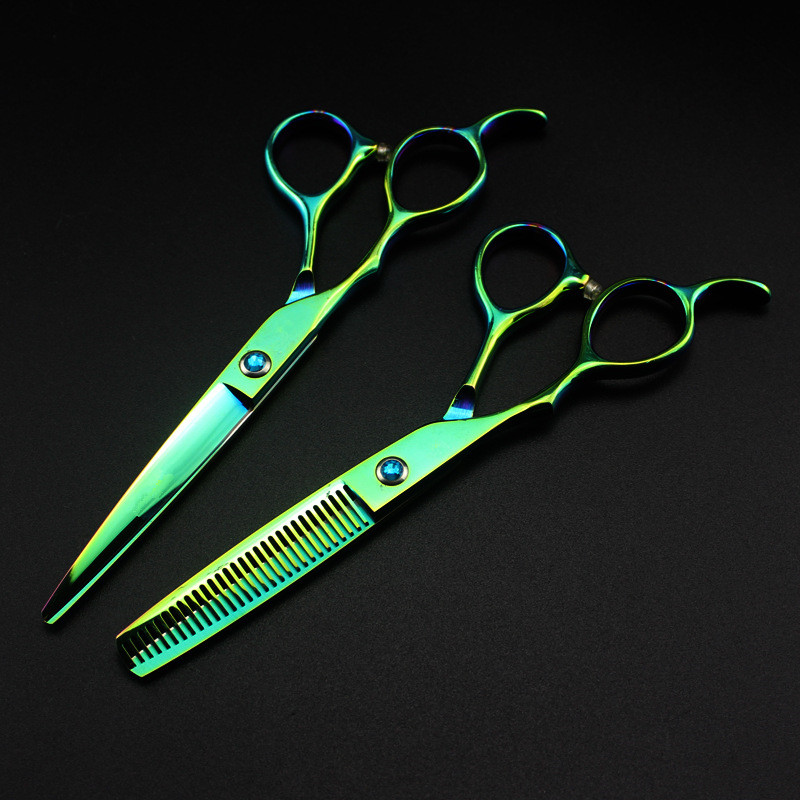 Professional Japan 440c Green Left Handed 6 '' Hair Scissors Cutting Barber Makas Haircut Thinning Shears Hairdressing Scissors