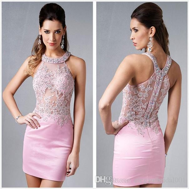 2018 Fashion Homecoming Sexy Illusion Halter Mini Pink Crystal Bodice Short Prom Party Gown Off The Shoulder Bridesmaid Dresses
