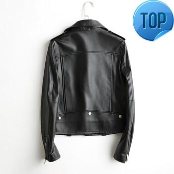 De cuero genuino 2020 chaquetas mujeres corta bombardero motocicleta genial de cuero...