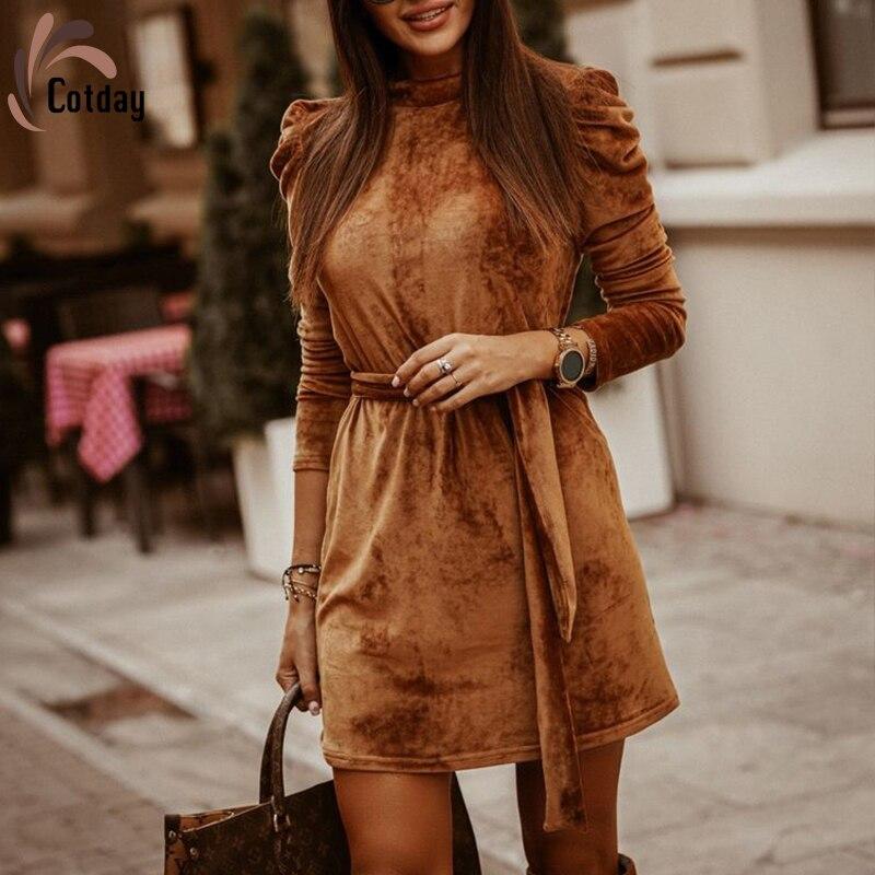 Бархатное облегающее платье Cotday с длинными рукавами-фонариками в стиле Хепберн с поясом хаки, лучшее винтажное женское повседневное облега...