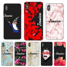 цена на Marble heart Personalized Custom DIY Name Black Soft TPU Silicone Phone Case Cover For iPhone 11 Pro X XR XS MAX 5 6 6S 7 8 Plus