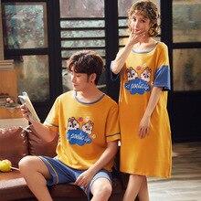New Summer Cartoon Lovers Cute pajamas Women Men Couple Short Sleeve Pajama Sets Casual Clothes Sleepwear women nightdress
