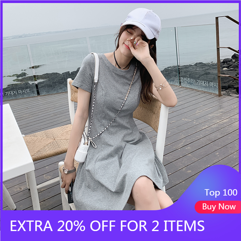 MISHOW Solid Short Sleeve Slim T-shirt Dress O-Neck Mini Bodycon Dress Elegant Casual Streetwear Summer Ladies Dress MX19B1909