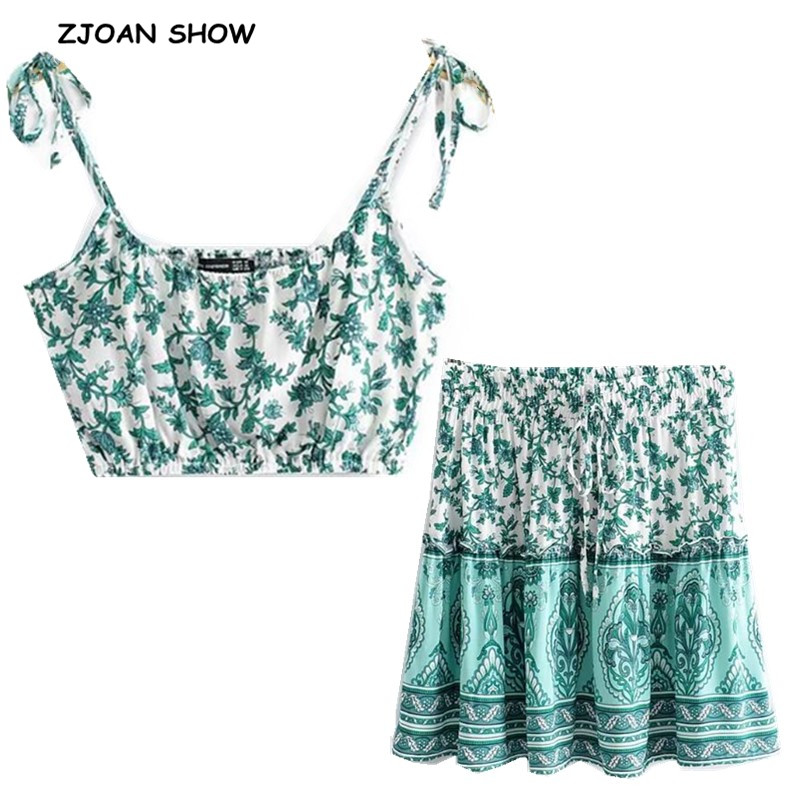 2020 Bohemian Elastic Hem Floral Print Bra Tank Top Crop Top Sexy Women Elastic Waist Mini Short Skirt Ruched Camis 2 Pieces Set