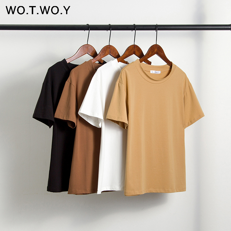 WOTWOY Solid Casual Basic T-shirt Women 2020 Summer Short Sleeve Knitted Cotton Tee Shirt Women Black White Korean Top Femme New 1