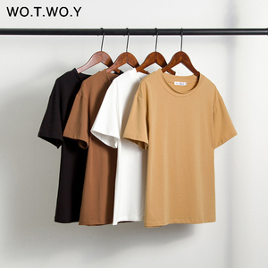 WOTWOY Solid Casual Basic T-shirt Women 2020 Summer Short Sleeve Knitted Cotton Tee Shirt Women Black White Korean Top Femme New(China)