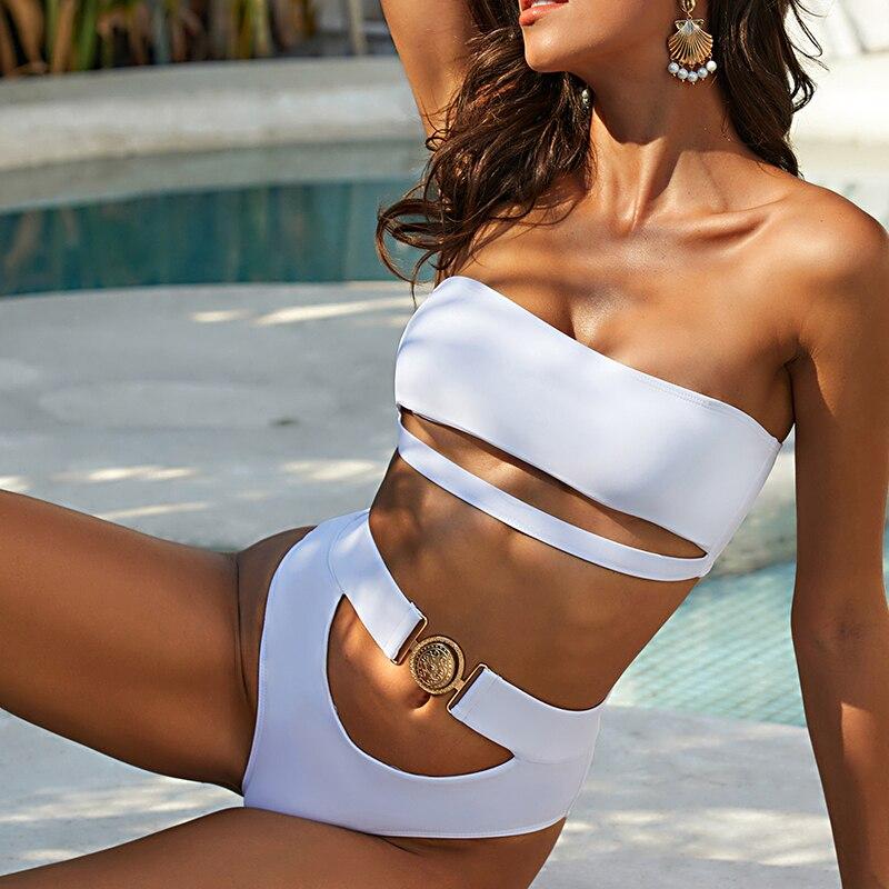 Mossha, белый женский купальник, бандо, бикини, 2020, Mujer, металлическая пряжка, пояс, женский купальник бикини, женский купальник 16