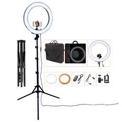 FOSOTO RL-18 фотографический светильник ing 5500K светодиодный кольцевой светильник 55 Вт кольцевая лампа с штативом для макияжа камеры телефона Youtube...