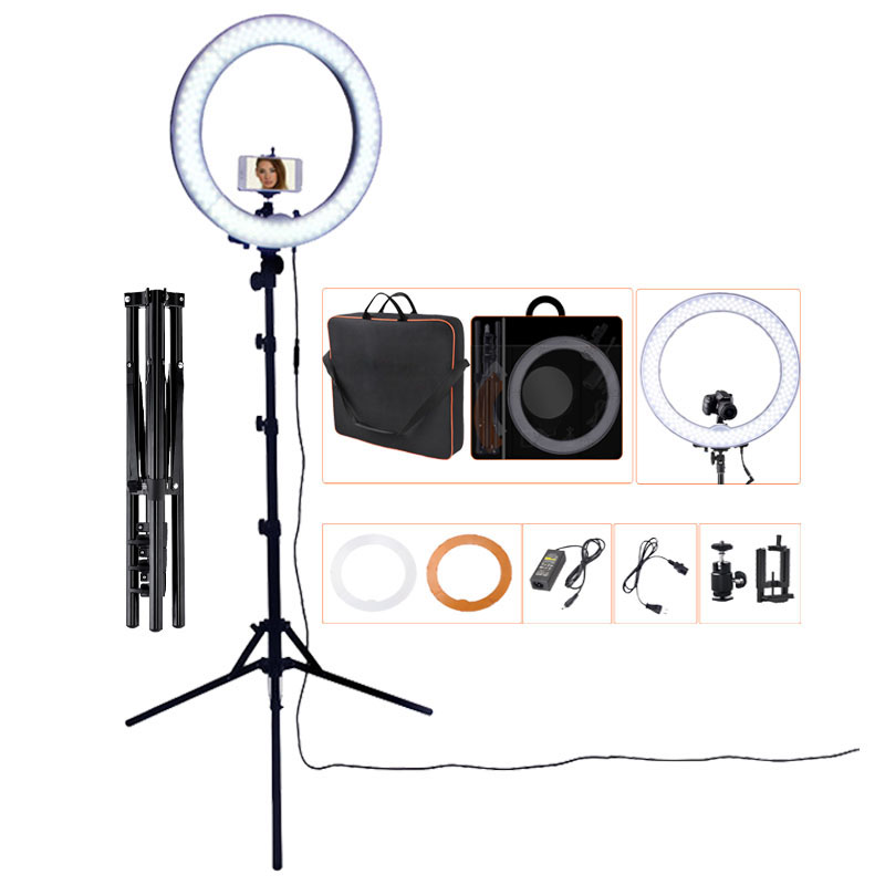 FOSOTO RL-18 photographic lighting 5500K Led Ring Light 55W Ring Lamp With Tripod For Makeup Camera Phone Youtube Photo Video