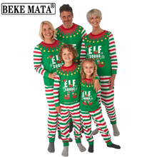 Family Christmas Pajamas 2020 Winter Family Look Mother Daughter Matching Clothes Father Son Set Striped Elf Print Family Outfit