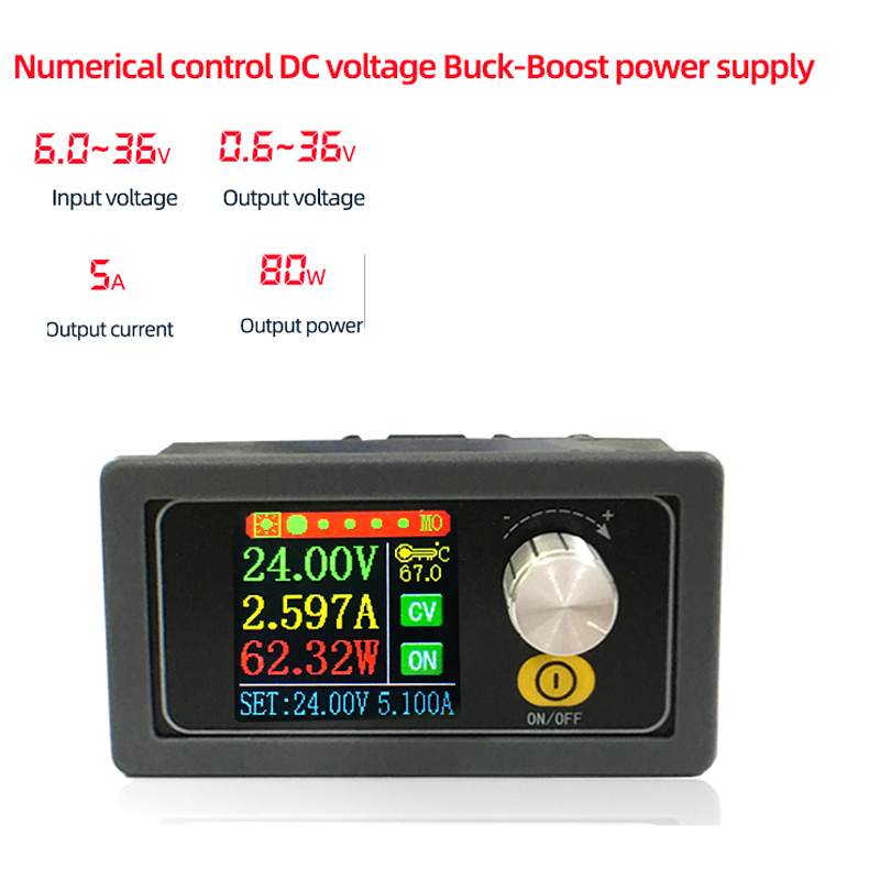 Dykb 80W DC-DC Buck Boost Converter CC CV 0.6-36V 5A Power Module Adjustable 3.3V 5v 12v 24v Step-up Down Voltage Regulated