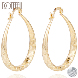 DOTEFFIL 925 Sterling Silver/Gold Round Circle U Ripple Hoop Earring For Woman Fashion Party Wedding Engagement Party Jewelry