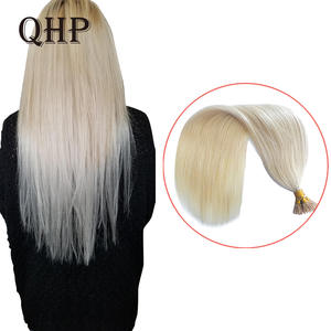QHP Hair-Extensions Keratin I-Tip Straight Machine-Made Remy 50pcs/Set