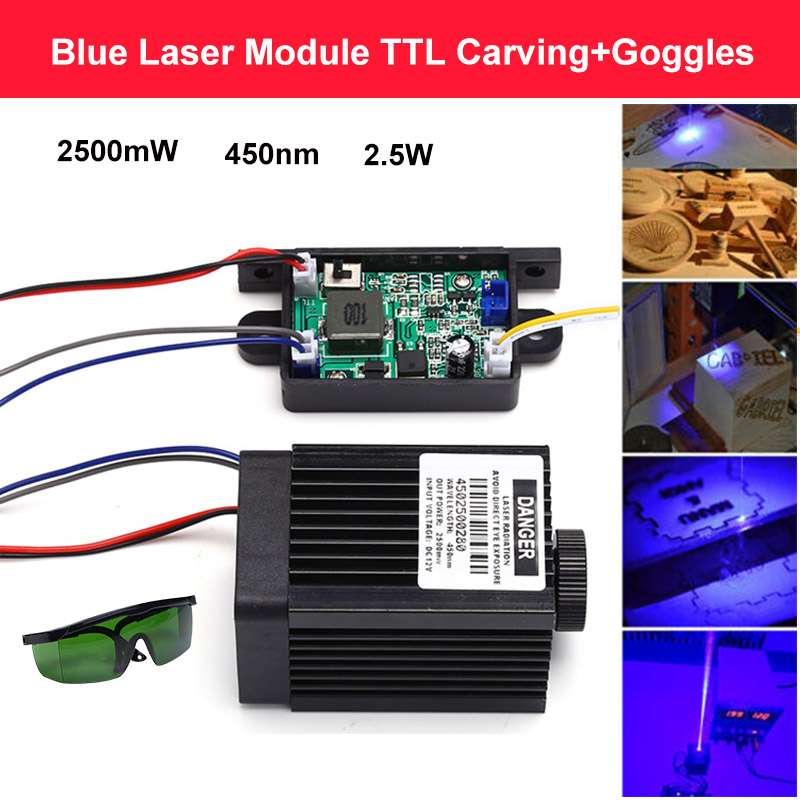 2500mW 450nm Laser Module TTL Adjustable Focus DIY Laser Cutter engraver accessories 2.5W laser head For CNC engraver +goggles