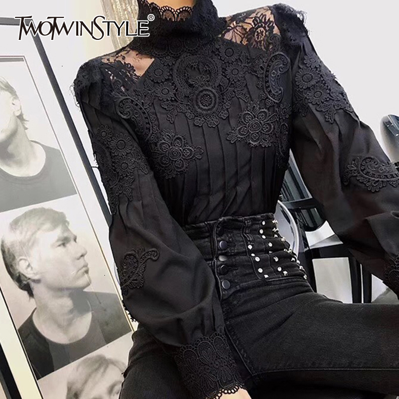 TWOTWINSTYLE Casual Patchwork Lace Hollow Out Women's Shirt Stand Collar Puff Long Sleeve Ruched Slim Blouse Female Clothing New