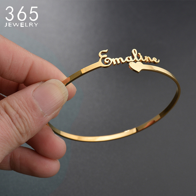 9 Styles New Stainless Steel Customized Bangle Personalized Nameplate Letter Heart Bracelet For Women Girl Jewelry Wedding Gift