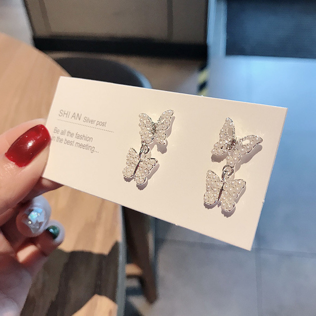 925 Silver Needle Crystal Butterfly Earrings Simple Cute Korean Female Lady Small Stud Earrings Vintage Zircon.jpg 640x640 - 925 Silver Needle Crystal Butterfly Earrings Simple Cute Korean Female Lady Small Stud Earrings Vintage Zircon Stone Earrings