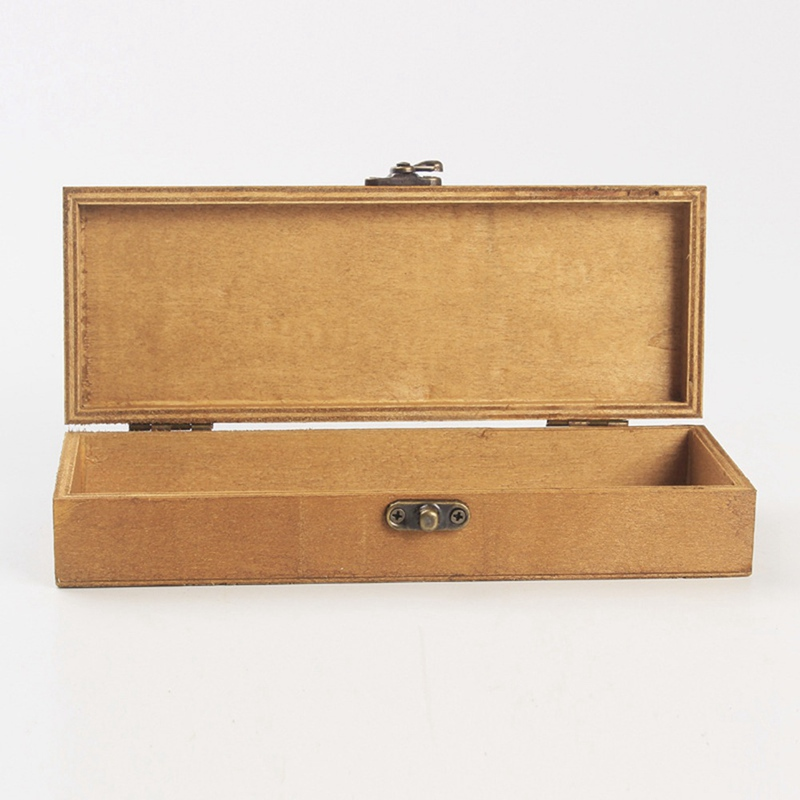 Porta lápices Retro de madera, estuche práctico de madera para niños, recipiente nostálgico rectangular de recuerdo Nueva caja de joyería Retro, caja de madera Natural de escritorio con concha de almeja, decoración de mano, caja de madera, caja de almacenamiento de postales
