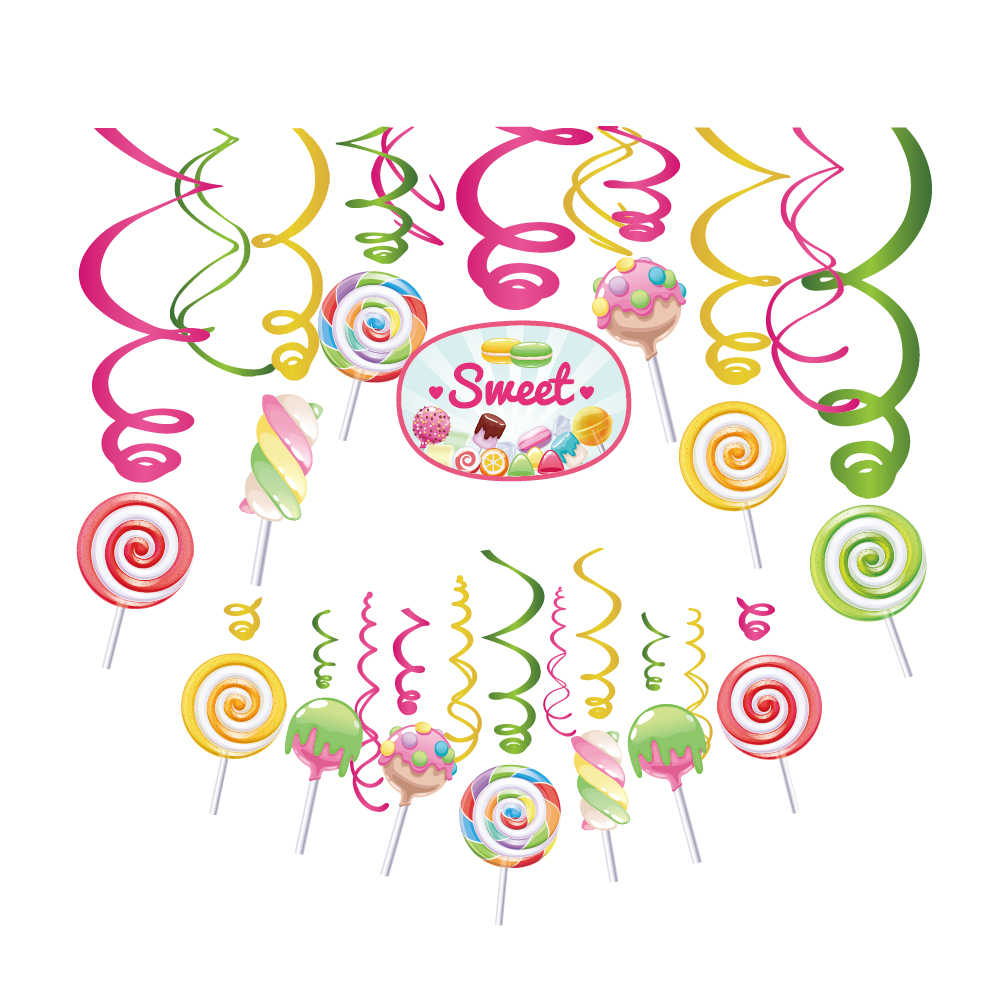 Sweet Girls Lollipop Theme Party Decorations PVC Spiral Hanging Swirls Kid Birthday Parties Favors Baby Shower Party Supplies