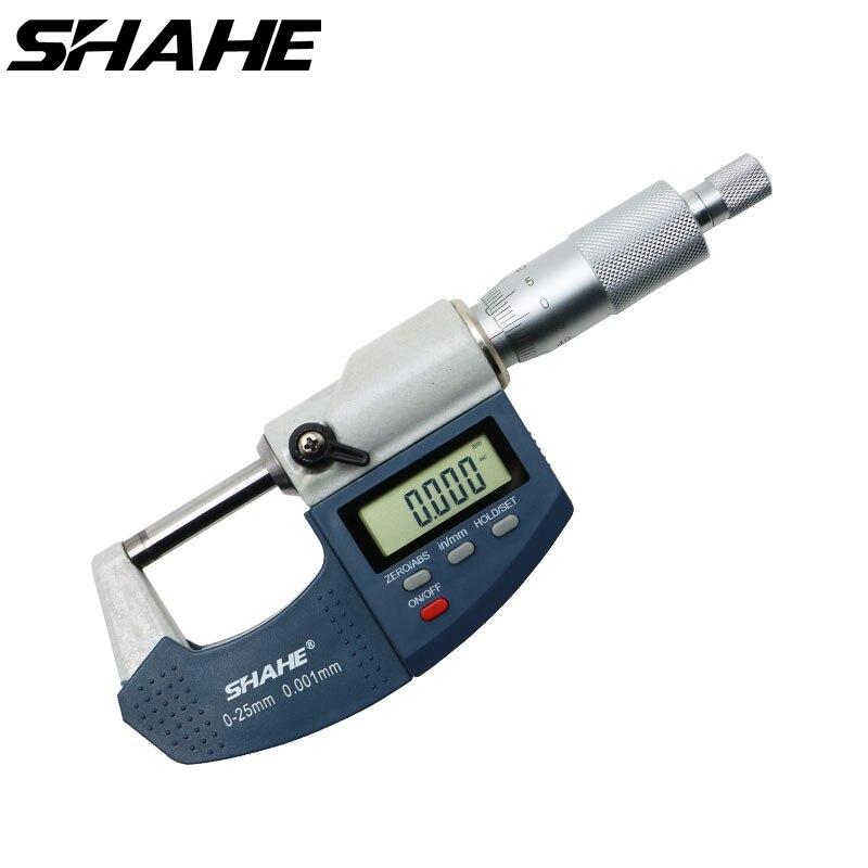 Цифровой микрометр shahe 0-25 мм микрон с очень большим ЖК-экраном электронные цифровые измерительные инструменты