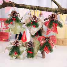 3pcs Christmas Decorative Pine Cone Cloth Hanging Pendant Tree Decorations Hotel Window