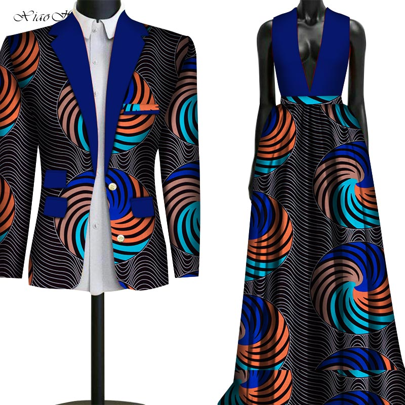 Wedding Two Piece Set African Dashiki Print Couple Clothing For Lovers Men's Suit Blazer Plus Women's Party Dress WYQ79