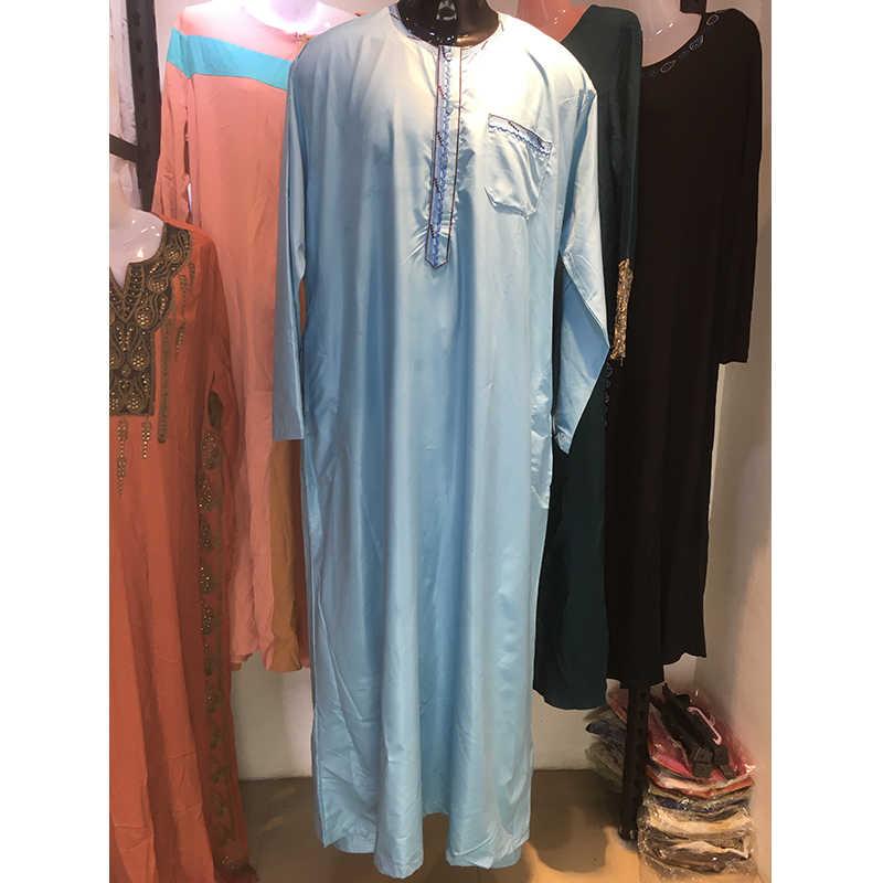 2020 Model Baru Modis 5 Warna Jubba Thobe Bordir Gaya Maroko Abaya Ibadah Cocok untuk Muslim Pria untuk Berdoa ramadan