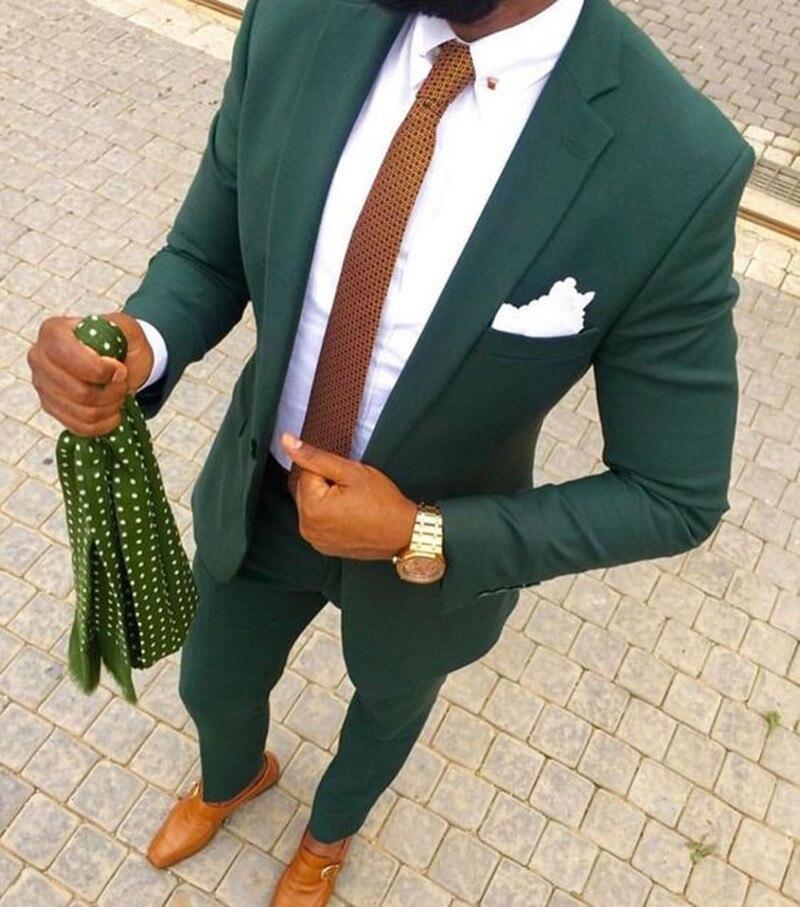 Green Men Suits For Wedding 2Pieces Customize Business Suit Blazer Peak Lapel Costume Homme Party Suits(Bluejacket+White Pant)