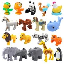 Большой Строительный Блоки Дупло Зоопарк Животные Аксессуары Фигурки Попугай Панда Пингвин Слон Тигр Лев Лошадь Игрушки Для Детей Подарок