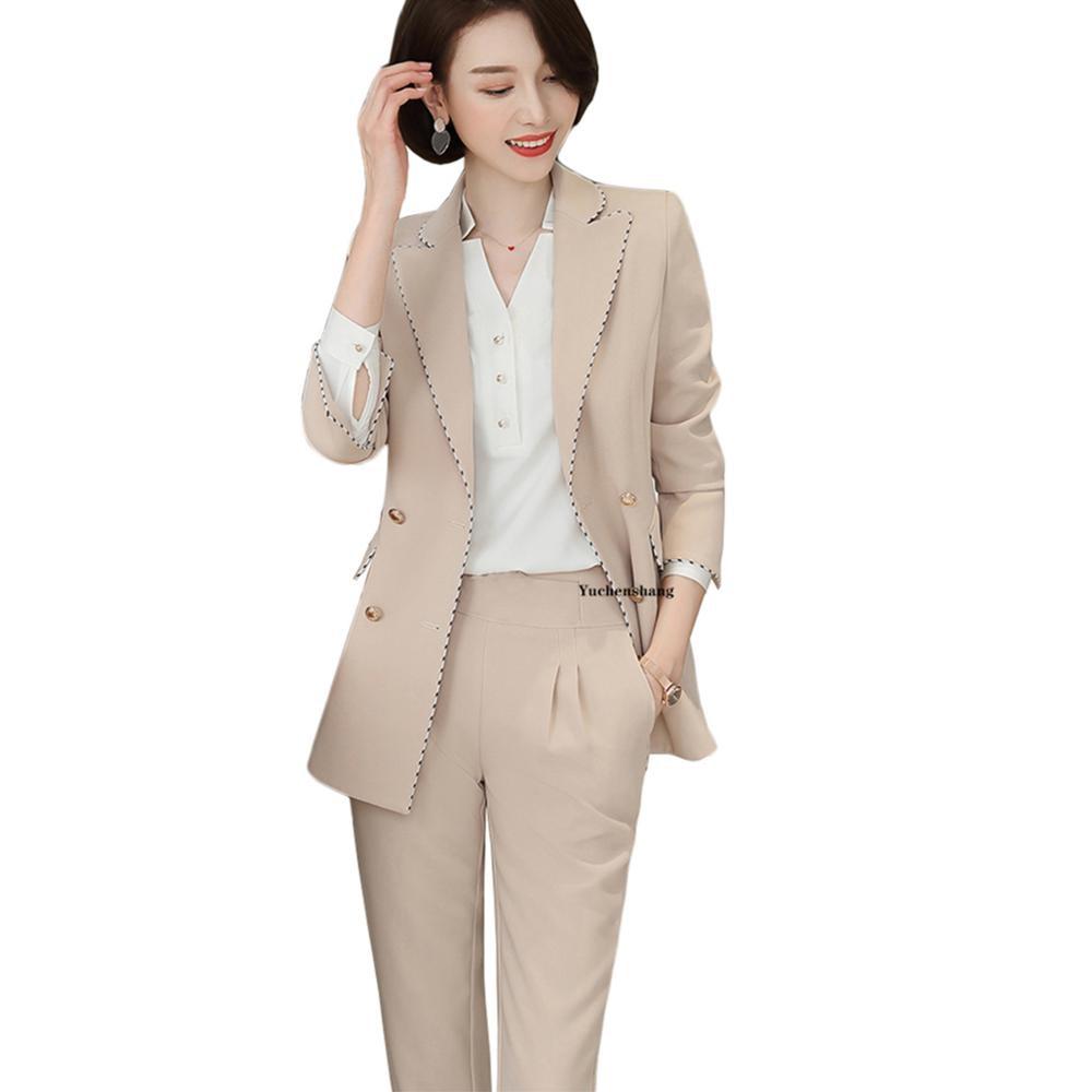 Women Pant Suit Plus Size 5XL Apricot Business Interview Work Wear Office Ladies Long Sleeve Blazer And Pants Set