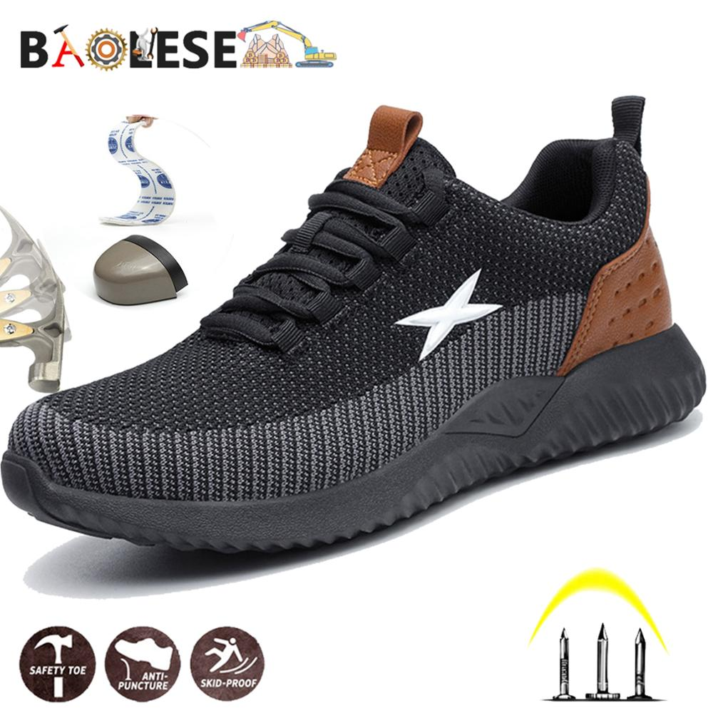 BAOLESEM Man Safety Shoes Men Work Safety Shoes Steel Cap Toe Construction Shoes Lace-up Work Sneakers Brathable Safty Footwear