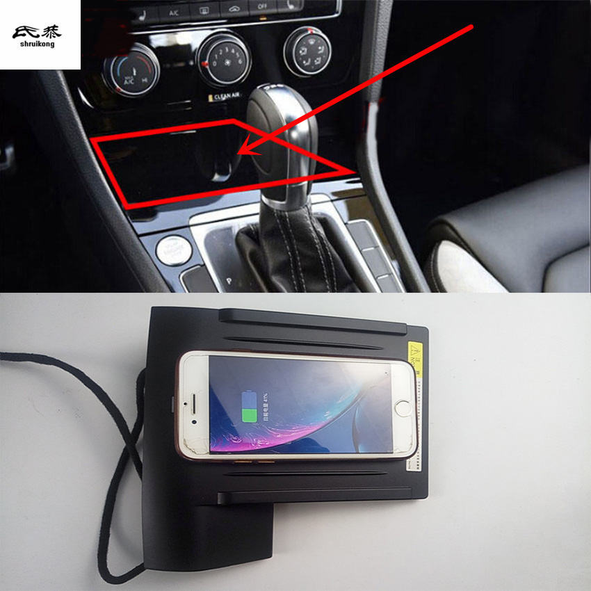 10W QI Wireless Charging Phone Charger Fast Charging Plate Panel Phone Holder For 2014-2018 Volkswagen VW GOLF 7