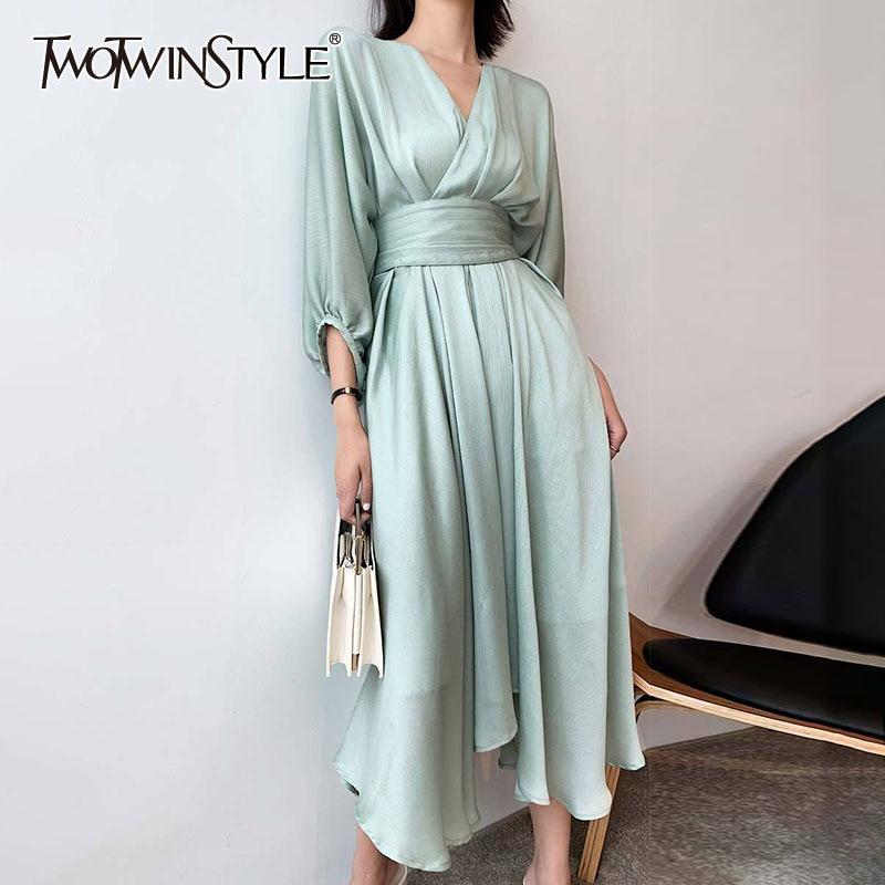 TWOTWINSTYLE Elegant Dresses For Women V Neck Lantern Sleeve High Waist Lace Up Ruched Dress Female 2020 Summer Fashion New