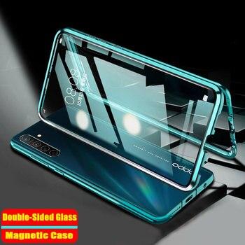 Перейти на Алиэкспресс и купить Двухсторонний стеклянный Магнитный адсорбционный чехол для OPPO Realme 6i 6 Pro 6S XT X2 X50 Pro C3 Reno 3 Q 5 Pro металлический бампер для телефона