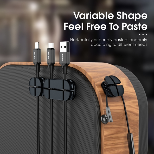 Vothoon Cable Organizer Silicone Cross Cable Winder Flexible Cable Management Clips Cable Holder For Mouse Headphone Earphone 2