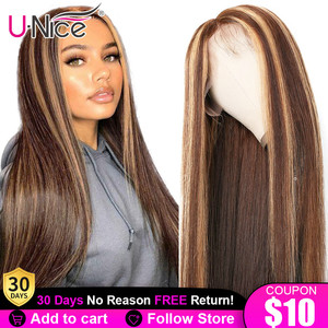 13x4 Highlight Lace Front Human Hair Wig Honey Blonde Brown Pre Plucked Brazilian Remy Lace Closure Wigs For Women Unice Hair