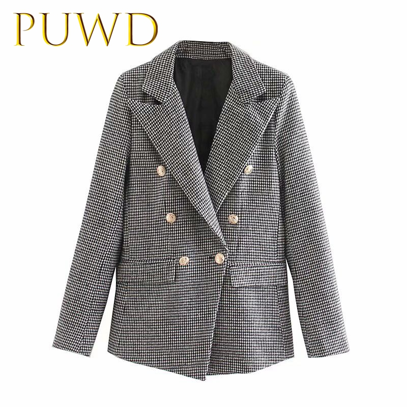 PUWD 2019 New Women's Coat In Autumn And Winter Grey And White Plaid Double Breasted Suit