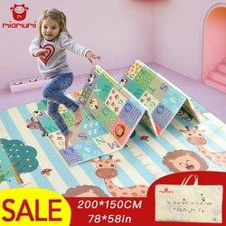 Alfombra de juegos para bebés portátil Miamumi, alfombra de espuma XPE de doble cara, juego de rompecabezas, manta plegable, alfombra para niños