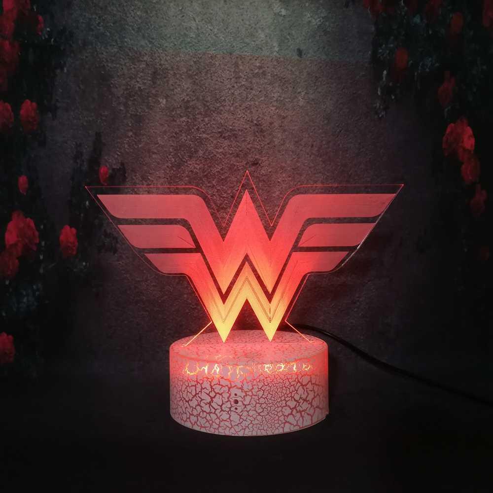 Personalized LED Night Light Lamp Wonder Woman Light Up w//Remote Control,