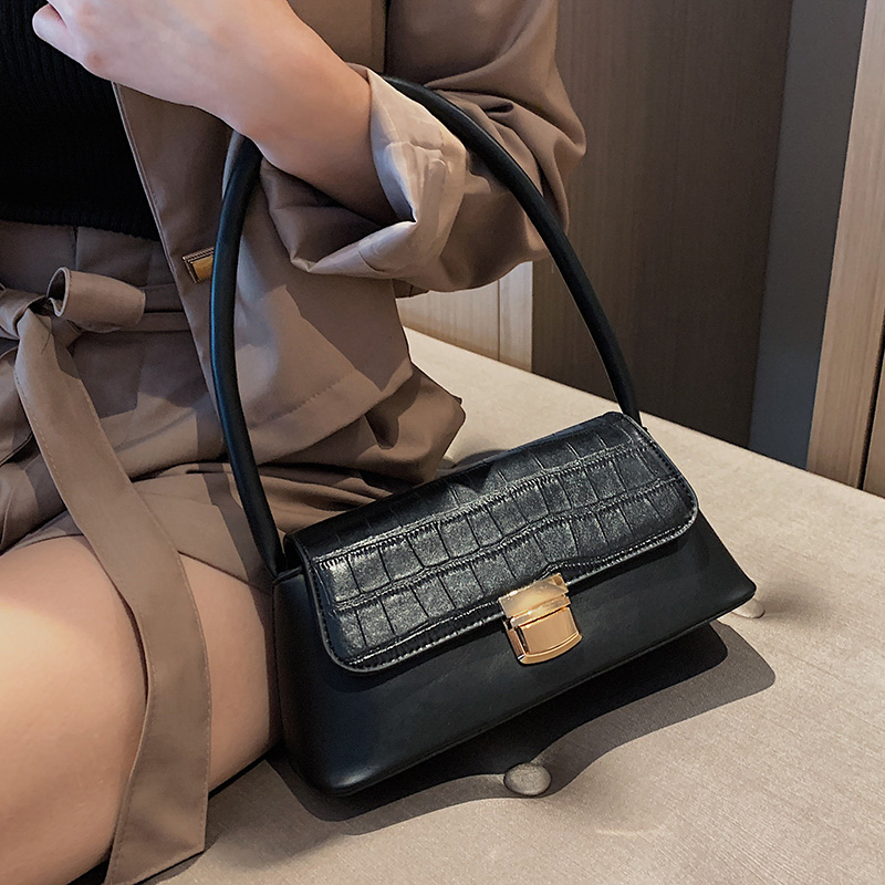 Solid Color Stone Pattern PU Leather Shoulder Bags For Women 2020 Luxury Quality Small Travel Handbags Phone Purses Hand Bag