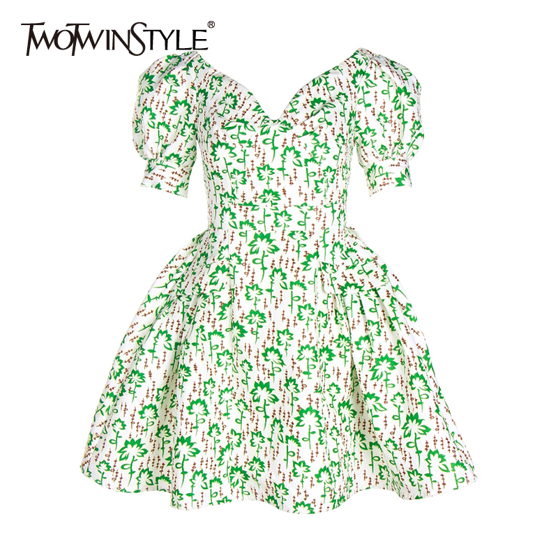TWOTWINSTYLE Elegant Print Women Dress V Neck Puff Short Sleeve High Waist Ruched Mini Hit Color Dresses For Female Fashion Tide