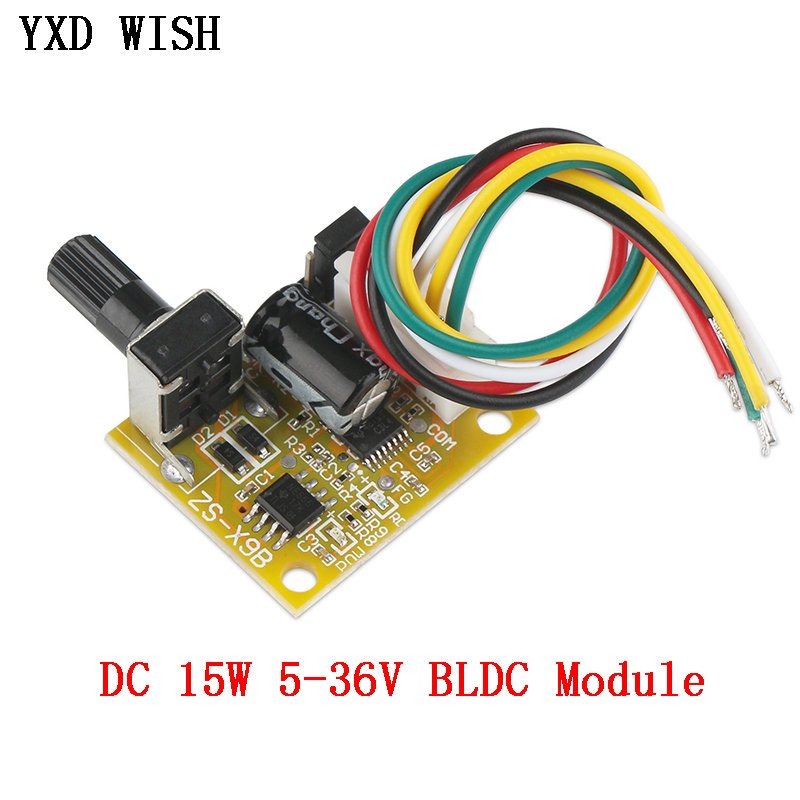 BLDC Three-Phase Motor Speed Controller No Hall DC 5-36V BLDC Brushless Driver Board Module 15W BLDC Motor Speed Controller