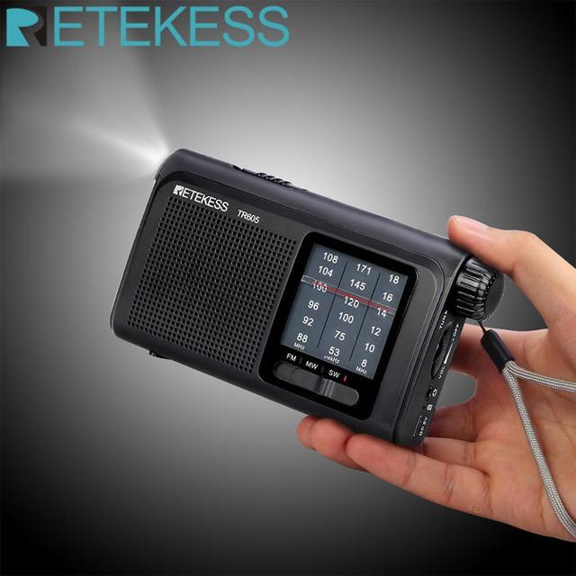 Retekess TR605 Di Động Đài Phát Thanh FM/MW/SW Khẩn Cấp Đèn Pin Sạc Pin Loa Dành Cho Người Cao Tuổi