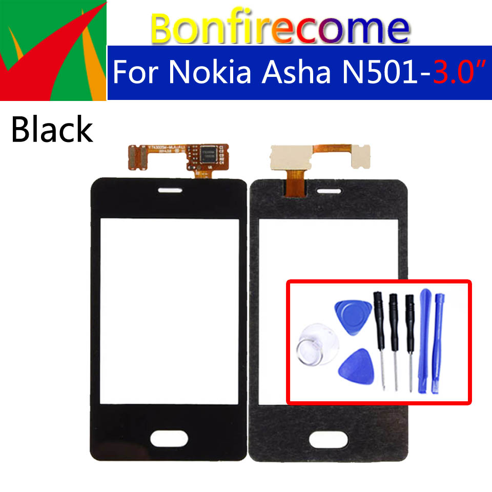 For Nokia Asha N501 501 Touch Screen Digitizer Panel Sensor Glass Replacement Parts 3.0