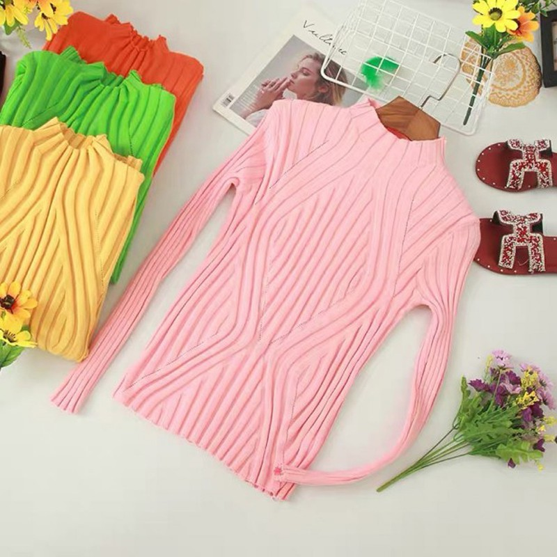 Knit Sweater Thin Tight Women Spring Autumn New High Collar Long Sleeve Knitwear Sweater Sweet Slim Solid Color Sweater Tops